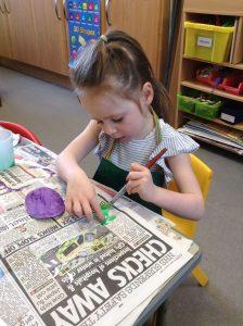 Painting bugs at Preschool, Cheltenham