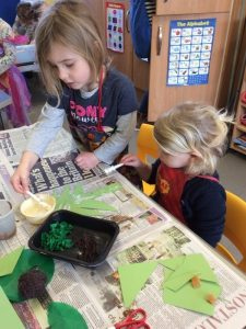 Painting a story at Preschool